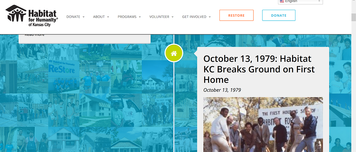 Screenshot of Habitat for Humanity KC timeline