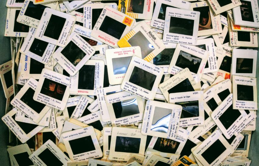A pile of discarded photographic slides.